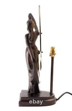Art Deco Danseur Bronze Dame Figurine Lampe En Verre Shade Tiffany
