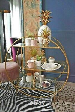 Art Deco Glam Or Fini Boissons Chariot Avec 3 Étagères En Verre Sur Roulettes