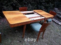Art Déco Modèle H-214 Ensemble De Salle À Manger De Jindrich Halabala Table Et 4 Chaises 1950's