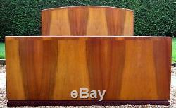 Art Deco Noyer Double Standard Lit Avec Base De Pin