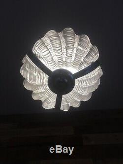 Art Déco Originale Texturés En Verre Givré Shell Clam Odeon Lumière De L'ombre Avec La Chaîne