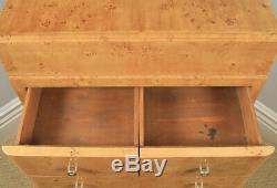 Art Déco Scandinave Style Birds Eye Maple Chambre Tallboy Commode