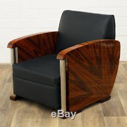 Art Deco Sitzmöbel, Sessel, Stuhl Style Moderne 1926 Lounge Ledersessel Schwarz