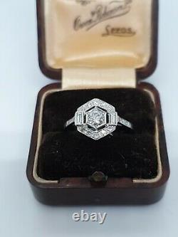 Art Deco Style Anneau De Diamant Platine 0,65ct Taille O