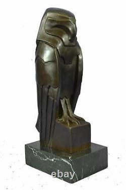 Art Déco Style Bronze Hawk Eagle Falcon Crow Bird Livre Sculpture 15 X 6,5
