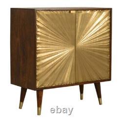 Art Deco Style Châtaigne Bois & Laiton Déclaration Conseil D'administration / Cabinet De Boissons