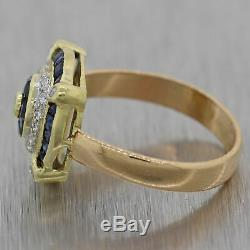 Art Or Jaune Vintage Style Déco Domaine Sapphire & Diamond Ring
