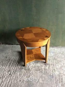 Art Vintage Style Déco Marqueterie Géométrique À Deux Niveaux Table Basse / Côté Rond