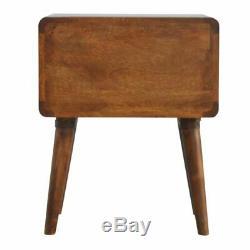 Artisan Rangeart Deco Style Bois Foncé Armoire De Chevet Table 2 Tiroirs Chatain
