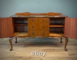 Attractive Large Vintage Queen Anne Walnut Serpentine Sideboard Armoire