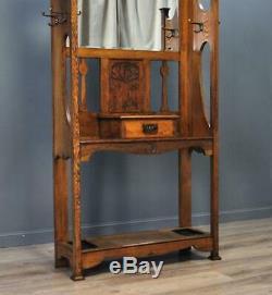 Attrayants Arts Victorienne Antique Artisanat Chêne Miroir Retour Salle Coat Stand Bâton