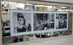 Audrey Hepburn 3 Pose Des Cristaux D'image, De L'art Liquide Et Un Cadre De Miroir Biseauté