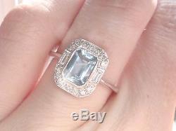 Bague À Grappes De Diamants Et Aigue-marine En Or Blanc 18 Kt De Style Art Déco