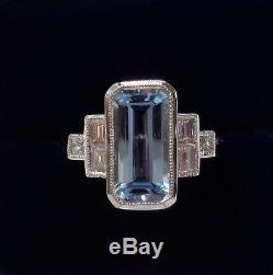 Bague Aigue-marine Et Diamants Style Art Déco En Or Blanc 18k - Taille N (us 6.75)