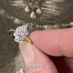 Bague Art Déco Style Diamond 9ct Yellow & White Gold Engagement Cluster Ring Uk L