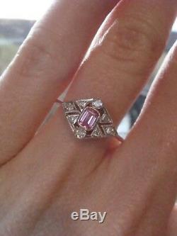 Bague Avec Saphir Rose Naturel Et Diamants, Style Art Déco, 18 Ct