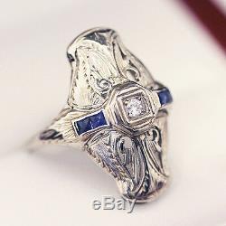 Bague De Fiançailles Ancienne De Style Plaque Et Diamants Saphir Art Déco, Filigrane De 18 Carats
