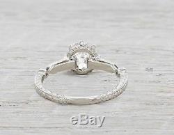 Bague De Fiançailles En Diamant Vs2 F Platine Avec 1.75 Ct Style Art Déco 100% Véritable