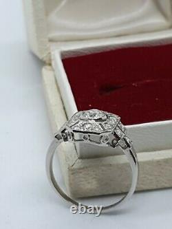 Bague Diamant De Style Art Déco Platine Vintage