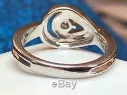 Bague En Or 10k Vintage De Fiançailles En Diamants De Style Art Déco Signée Évaluation Ksj