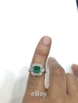 Bague En Platine Avec Diamants Style Émeraude De Style Art Déco