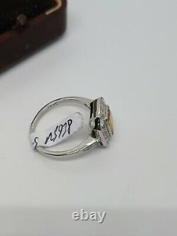 Bague En Platine Stunning Saphir Jaune & Diamond Art Deco Style