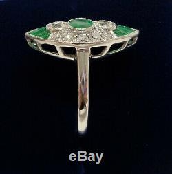 Bague Grappe De Diamants Finement Émeraude Et Platine De Style Art Déco, Taille N 1/2