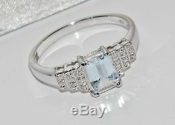 Bague Pour Femme En Or Blanc 9 Kt Avec Aigue-marine Et Diamants De Style Art Déco, Taille M