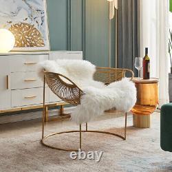 Baignoire Accent Wire Chair Or Fini Cadre Avec Fausse Fourrure Seat Cover Pad Stock