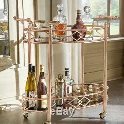 Bar Mobile En Métal Panier Ou Thé En Verre Chariot Black Top Avec Rose Et Or Terminer