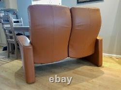 Beautiful Norwegian Art Déco 2 Places Tan Leather Incliner Cinema Seat / Canapé