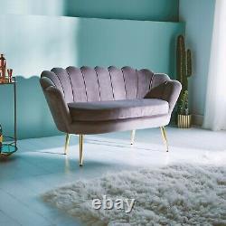 Beautify Grey Petal Loveseat Art Déco Grey Velvet Accent Canapé, Gold Detail
