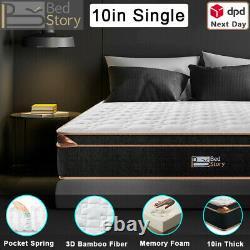 Bedstory 10in Mémoire Mousse Matelas Single Pocket Sprung Hybrid Matelas Firm