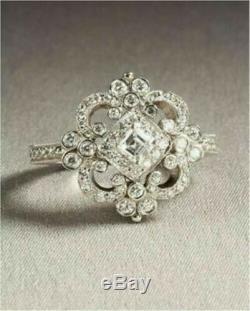 Belle Art Déco Vintage De Style 3.8ct Blanc Asscher Bague De Fiançailles En Diamant Taillé