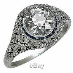 Belle Bague De Fiançailles À Diamants Européenne Ancienne Style Platine