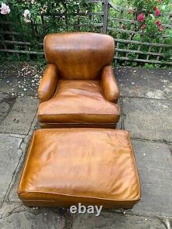 Belle Chaise De Bras En Cuir Art Déco Vintage Avec Repose-pieds. Style Howard & Son