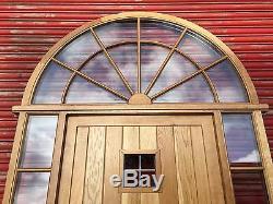 Belle Porte D'entrée En Chêne Massif Avec Lumière Et Fenêtres Latérales Supérieures Cintrées! Sur Mesure