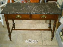 Belle Wash Vintage Avec Stand Solide Marbre Et Deux Tiroirs Conviennent Toutes Les Pièces