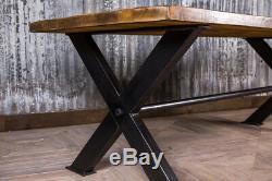 Bespoke Style Industriel 250cm Régénérés Pin Et De Cuisine En Acier Table À Manger