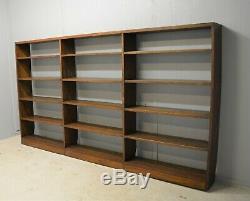 Bibliothèque Bibliothèque Grand Solide Chêne Foncé Ouvert Backed Dur Livraison En Bois Disponible