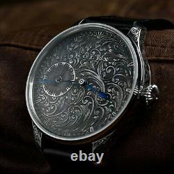 Black Rolex Damascus Montre Cadran Argent Gravure À Main, Gravure, Vintage