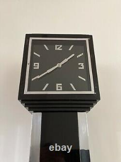 Boissons De Cocktail Art Déco Cabinet Long Case Horloge Vintage Noir Chrome 1930s