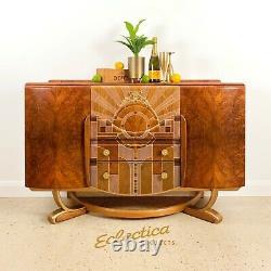 Boissons De Cocktail Vintage Art Déco Cabinet / Buffet 'beautility' Walnut Gold