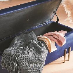 Boîte De Rangement Btfy Ottomane En Velours Bleu Avec Jambes Dorées