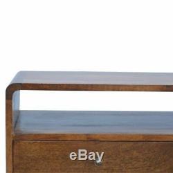 Bord Incurvé Dark Wood Tv Media Unit Cabinet Avec MID Century Legsart Deco Style