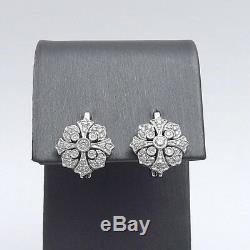 Boucles D'oreille Dormeuses En Forme De Croix En Diamant Avec Diamants Et Or 14 Carats, Style Art Déco