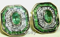 Boucles D'oreilles En Or 9ct Diamond Art Deco Style 9 Carat Jaune Or Stud