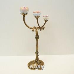 Bougeoir Fleurs Style Art Déco Style Art Nouveau Bronze Massif Ceramique Porcela
