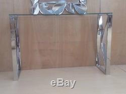 Bude Large Table En Verre Transparent Et Miroir Avec Coiffeuse, Largeur De La Table 120 CM