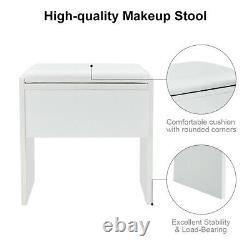 Bureau Blanc De Maquillage De Vanité De Dressing Avec 5 Tiroirs, Ensemble De Miroir Et Tabouret R-u